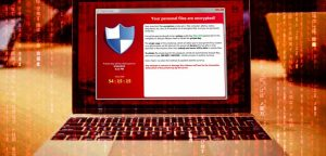 Ransomware one a laptop screen